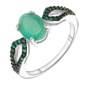 925 Sterling Silver women's rings with  and nano emerald