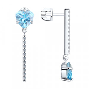 925 Sterling Silver pair earrings with cubic zirconia and topaz
