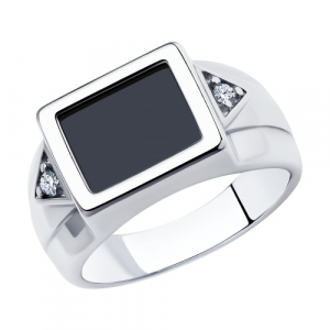 925 Sterling Silver women's rings with cubic zirconia and onyx
