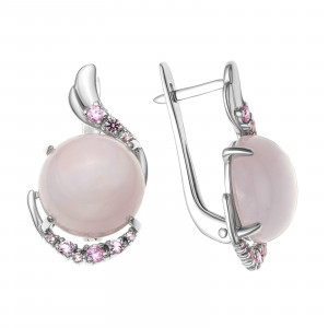 925 Sterling Silver pair earrings with nano crystal and pink quartz