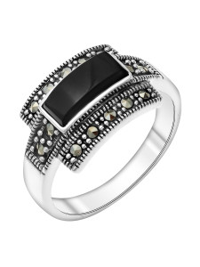 925 Sterling Silver women's rings with marcasite and synthetic onyx