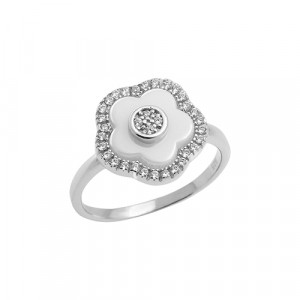 925 Sterling Silver women's ring with ceramics and cubic zirconia