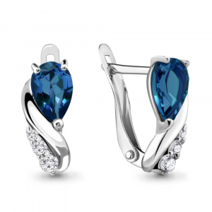 925 Sterling Silver pair earrings with london topaz and cubic zirconia