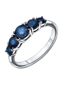 925 Sterling Silver women's rings with sapphire and corundum