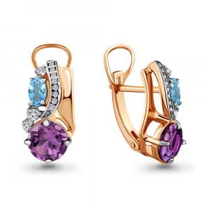 925 Sterling Silver pair earrings with amethyst and