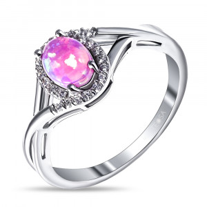 925 Sterling Silver women's rings with pink opal and cubic zirconia