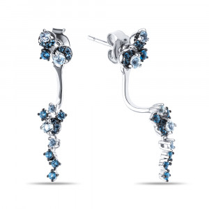 925 Sterling Silver pair earrings with topaz and cubic zirconia