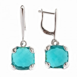 925 Sterling Silver pair earrings with tourmaline quartz