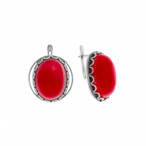 925 Sterling Silver pair earrings with synthetic carnelian