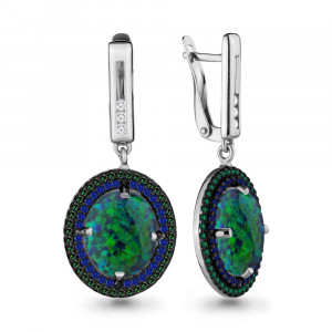 925 Sterling Silver pair earrings with synthetic green opal and nano emerald