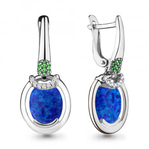 925 Sterling Silver pair earrings with synthetic opal and synthetic onyx