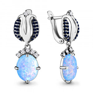 925 Sterling Silver pair earrings with opal and cubic zirconia