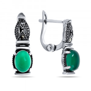 925 Sterling Silver pair earrings with synthetic green agate and marcasite