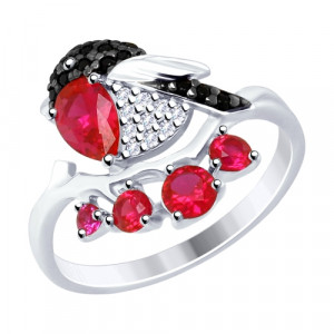 925 Sterling Silver women's rings with corundum and cubic zirconia