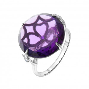 925 Sterling Silver women's rings with amethyst gt