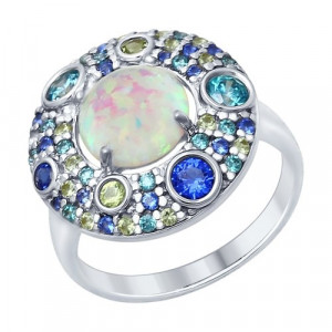 925 Sterling Silver women's rings with synthetic opal and cubic zirconia