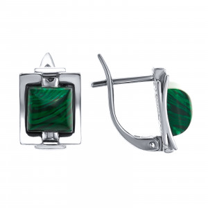 925 Sterling Silver pair earrings with synthetic malachite and malachite