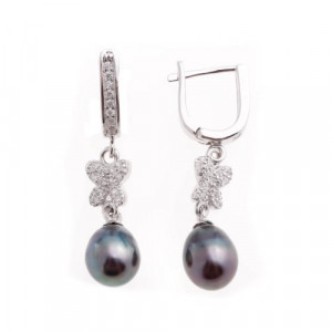 925 Sterling Silver pair earrings with black cultivated pearls and cubic zirconia