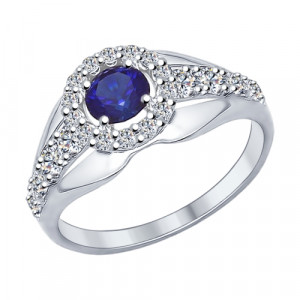 925 Sterling Silver women's rings with cubic zirconia and synthetic sapphire