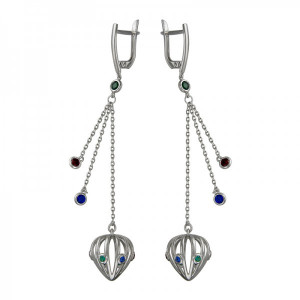 925 Sterling Silver pair earrings with synthetic spinel and spinel