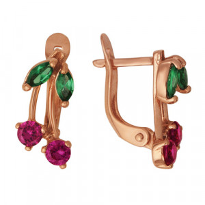 925 Sterling Silver pair earrings with multicolor cubic zirconia and synthetic spinel