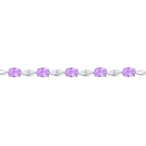925 Sterling Silver bracelets with amethyst and topaz