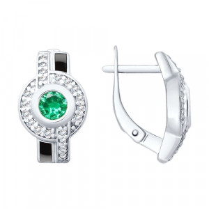 925 Sterling Silver pair earrings with sitall and emerald gt