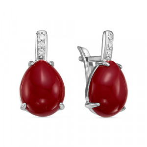 925 Sterling Silver pair earrings with  and glass