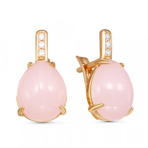 925 Sterling Silver pair earrings with pink quartz and cubic zirconia