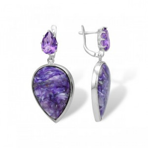 925 Sterling Silver pair earrings with charoite and amethyst