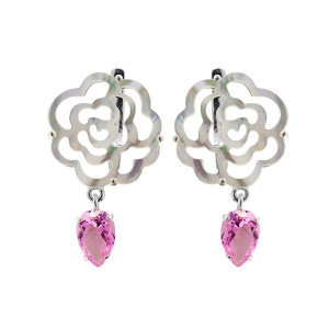 925 Sterling Silver pair earrings with crystal jewelry and mother of pearl
