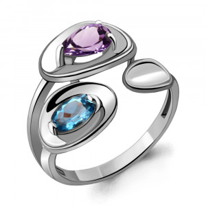925 Sterling Silver women's rings with  and amethyst