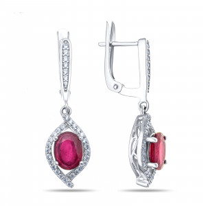 925 Sterling Silver pair earrings with  and