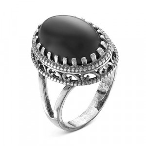 925 Sterling Silver women's rings with synthetic agate and glass
