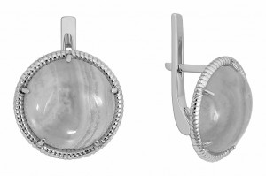 925 Sterling Silver pair earrings with carnelian and chrysoprase