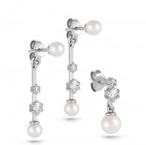 925 Sterling Silver pair earrings with cubic zirconia swarovski and pearl cult.
