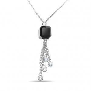 925 Sterling Silver necklaces with cubic zirconia and onyx
