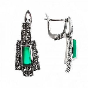 925 Sterling Silver pair earrings with green agate and synthetic green agate
