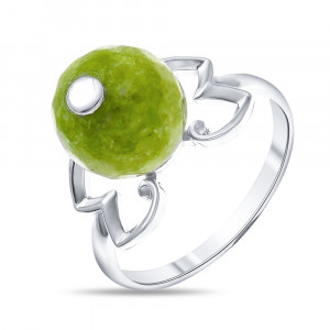 925 Sterling Silver women's rings with white agate and green cut agate