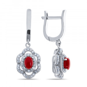 925 Sterling Silver pair earrings with synthetic coral