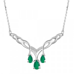 925 Sterling Silver necklaces with green agate and cubic zirconia