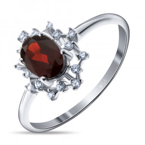 925 Sterling Silver women's ring with cubic zirconia and garnet