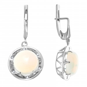 925 Sterling Silver pair earrings with moonstone