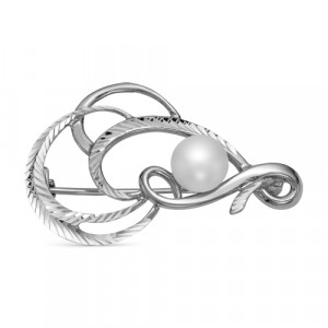 925 Sterling Silver brooches with pearl cult.