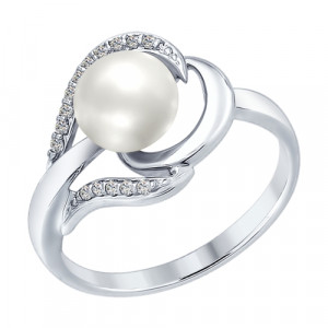 925 Sterling Silver women's rings with pearl and cubic zirconia