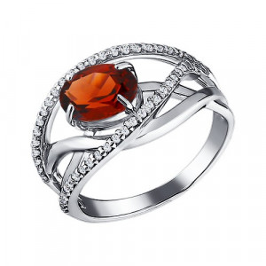925 Sterling Silver women's rings with garnet and topaz