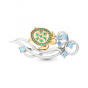 925 Sterling Silver brooches with nano emerald