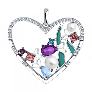 925 Sterling Silver pendants with pearl imit. and cubic zirconia