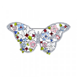 925 Sterling Silver brooches with enamel and cubic zirconia