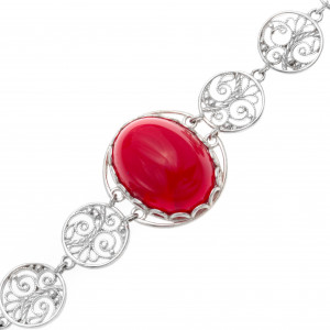 925 Sterling Silver bracelets with synthetic carnelian